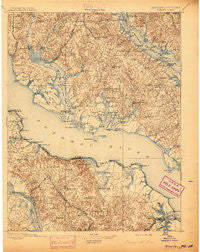 Nomini Virginia Historical topographic map, 1:125000 scale, 30 X 30 Minute, Year 1895