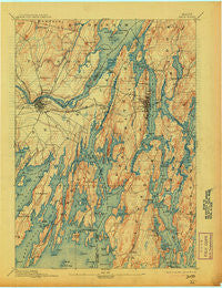 Bath Maine Historical topographic map, 1:62500 scale, 15 X 15 Minute, Year 1894