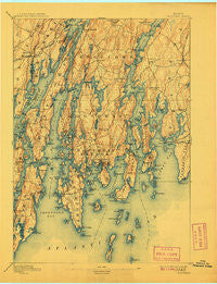 Boothbay Maine Historical topographic map, 1:62500 scale, 15 X 15 Minute, Year 1893