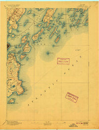 Casco Bay Maine Historical topographic map, 1:62500 scale, 15 X 15 Minute, Year 1893