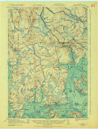 Columbia Falls Maine Historical topographic map, 1:62500 scale, 15 X 15 Minute, Year 1921