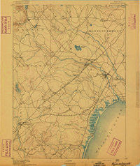 Kennebunk Maine Historical topographic map, 1:62500 scale, 15 X 15 Minute, Year 1891