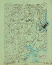 Portland Maine Historical topographic map, 1:62500 scale, 15 X 15 Minute, Year 1891