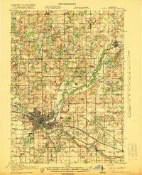 Battle Creek Michigan Historical topographic map, 1:62500 scale, 15 X 15 Minute, Year 1918