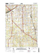 Flint South Michigan Current topographic map, 1:24000 scale, 7.5 X 7.5 Minute, Year 2017 from Michigan Map Store