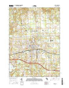 Lapeer Michigan Current topographic map, 1:24000 scale, 7.5 X 7.5 Minute, Year 2016