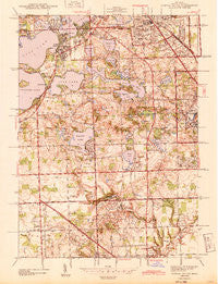 Pontiac South Michigan Historical topographic map, 1:24000 scale, 7.5 X 7.5 Minute, Year 1943