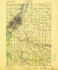 Saginaw Michigan Historical topographic map, 1:62500 scale, 15 X 15 Minute, Year 1919