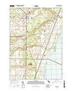 Standish Michigan Current topographic map, 1:24000 scale, 7.5 X 7.5 Minute, Year 2016 from Michigan Map Store