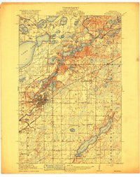 Brainerd Minnesota Historical topographic map, 1:62500 scale, 15 X 15 Minute, Year 1918