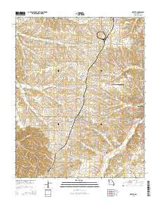 Exeter Missouri Current topographic map, 1:24000 scale, 7.5 X 7.5 Minute, Year 2015