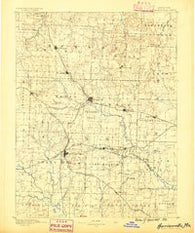 Harrisonville Missouri Historical topographic map, 1:125000 scale, 30 X 30 Minute, Year 1887