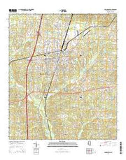 Brookhaven Mississippi Current topographic map, 1:24000 scale, 7.5 X 7.5 Minute, Year 2015 from Mississippi Maps Store