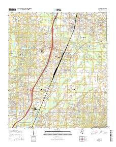 Canton Mississippi Current topographic map, 1:24000 scale, 7.5 X 7.5 Minute, Year 2015
