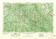 Meridian Mississippi Historical topographic map, 1:250000 scale, 1 X 2 Degree, Year 1957
