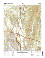 Tupelo Mississippi Current topographic map, 1:24000 scale, 7.5 X 7.5 Minute, Year 2015 from Mississippi Map Store