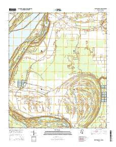 Whiting Bayou Mississippi Current topographic map, 1:24000 scale, 7.5 X 7.5 Minute, Year 2015