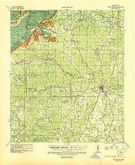 Woodville Mississippi Historical topographic map, 1:62500 scale, 15 X 15 Minute, Year 1936