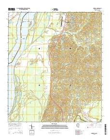 Yokena Mississippi Current topographic map, 1:24000 scale, 7.5 X 7.5 Minute, Year 2015