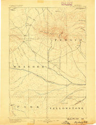 Big Snowy Mountain Montana Historical topographic map, 1:250000 scale, 1 X 1 Degree, Year 1889