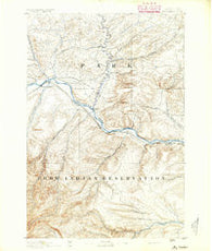 Big Timber Montana Historical topographic map, 1:125000 scale, 30 X 30 Minute, Year 1891