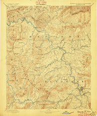 Asheville North Carolina Historical topographic map, 1:125000 scale, 30 X 30 Minute, Year 1894
