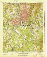 Asheville North Carolina Historical topographic map, 1:24000 scale, 7.5 X 7.5 Minute, Year 1943