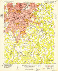 Charlotte East North Carolina Historical topographic map, 1:24000 scale, 7.5 X 7.5 Minute, Year 1949