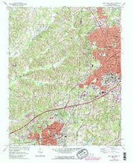 High Point West North Carolina Historical topographic map, 1:24000 scale, 7.5 X 7.5 Minute, Year 1969