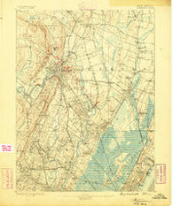 Paterson New Jersey Historical topographic map, 1:62500 scale, 15 X 15 Minute, Year 1888