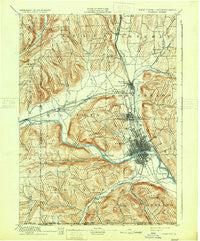 Elmira New York Historical topographic map, 1:62500 scale, 15 X 15 Minute, Year 1895
