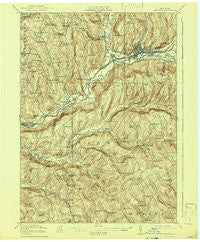 Oneonta New York Historical topographic map, 1:62500 scale, 15 X 15 Minute, Year 1918