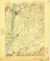 Poughkeepsie New York Historical topographic map, 1:62500 scale, 15 X 15 Minute, Year 1894
