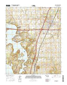 Checotah Oklahoma Current topographic map, 1:24000 scale, 7.5 X 7.5 Minute, Year 2016