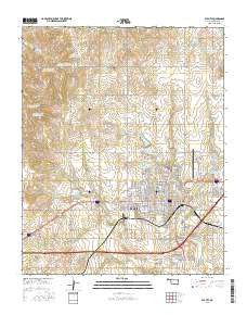 Elk City Oklahoma Current topographic map, 1:24000 scale, 7.5 X 7.5 Minute, Year 2016