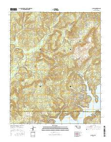 Qualls Oklahoma Current topographic map, 1:24000 scale, 7.5 X 7.5 Minute, Year 2016
