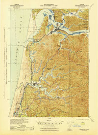 Reedsport Oregon Historical topographic map, 1:62500 scale, 15 X 15 Minute, Year 1942
