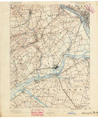 Burlington New Jersey Historical topographic map, 1:62500 scale, 15 X 15 Minute, Year 1890