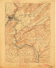 Easton Pennsylvania Historical topographic map, 1:62500 scale, 15 X 15 Minute, Year 1891