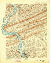 Harrisburg Pennsylvania Historical topographic map, 1:62500 scale, 15 X 15 Minute, Year 1892
