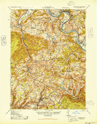 Monroeton Pennsylvania Historical topographic map, 1:62500 scale, 15 X 15 Minute, Year 1943