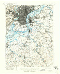 Philadelphia Pennsylvania Historical topographic map, 1:62500 scale, 15 X 15 Minute, Year 1894