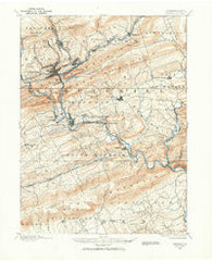 Pottsville Pennsylvania Historical topographic map, 1:62500 scale, 15 X 15 Minute, Year 1889