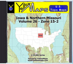 Buy digital map disk YellowMaps U.S. Topo Maps Volume 26 (Zone 15-2) Iowa & Northern Missouri from Iowa Maps Store