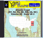 Buy digital map disk YellowMaps U.S. Topo Maps Volume 40 (Zone 18-2) Atlantic Coast (NY, NJ, PA, DE, MD, VA, NC) from Maryland Maps Store