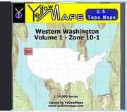Buy digital map disk YellowMaps U.S. Topo Maps Volume 1 (Zone 10-1) Western Washington from Washington Maps Store