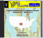 Buy digital map disk YellowMaps U.S. Topo Maps Volume 22 (Zone 14-3) Central Oklahoma & Southern Kansas from Kansas Maps Store