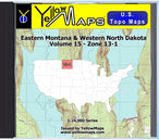 Buy digital map disk YellowMaps U.S. Topo Maps Volume 15 (Zone 13-1) Eastern Montana & Western North Dakota from Montana Maps Store