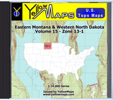Buy digital map disk YellowMaps U.S. Topo Maps Volume 15 (Zone 13-1) Eastern Montana & Western North Dakota