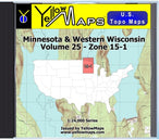 Buy digital map disk YellowMaps U.S. Topo Maps Volume 25 (Zone 15-1) Minnesota & Western Wisconsin from Minnesota Maps Store